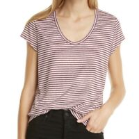 Nordstrom Signature Linen Striped Scoop Short Sleeve Tee NWT Womens Large L $98