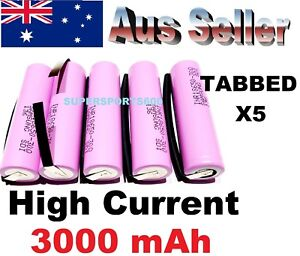 5x SAMSUNG 1865030Q Solder Tabs 3000mAh HIGH AMP rechargeable Lithium batteries