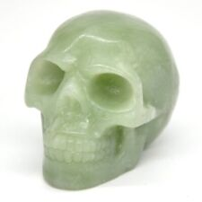 "Skull Head Figurine Xiuyu Jade Crystal Natural Stone Halloween Decor Statue 1.9"""