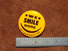 """Early 1970s """"We Smile More at Camelback Inn"""" Orange Smiley Face Pinback Button"""
