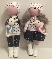 "Handmade Cloth Interior Tilda Doll 12"" Girl Boy Set Gift"