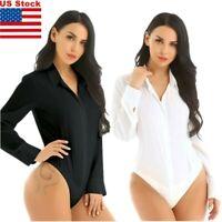 US Women One Piece Bodysuit Career Top Blouse Button Down Shirt Turn-down Collar