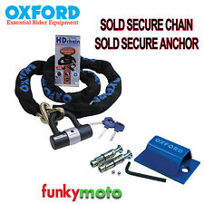 GROUND ANCHOR & OXFORD SOLD SECURE MOTORCYCLE 1M LONG CHAIN LOCK SECURITY PACK