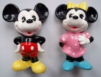 "VINTAGE Walt Disney Productions MICKEY & MINNIE MOUSE Figures 3"" X 1.5"" JAPAN"