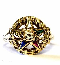 10k yellow gold Eastern Star sorority wreath ring 4.1g womens gemstones 6.5