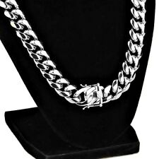 "Mens 24"" Inch Chain Stainless Steel 14MM Wide Cuban Link Silver Hip Hop Necklace"
