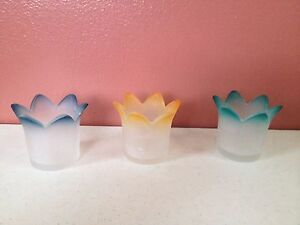 3 piece Party Lite Votive Candle Holder Flower Pastels Frosted Glass