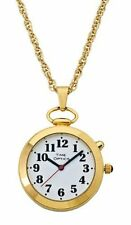 TimeOptics Women's Talking Gold-Tone Pendant Day-Date Alarm Watch # GWC300G