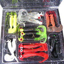 17pcs Fishing Lure Lead Jig Head Hook Grub Worm Soft Baits Shads Silicone Bait