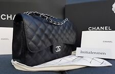 CHANEL CLASSIC JUMBO DOUBLE FLAP BAG BLACK CAVIAR SILVER HARDWARE brand new