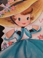 Vtg Hallmark Easter Greeting Card Diecut Cute Girl Bonnet Aqua Blue Dress 1950s