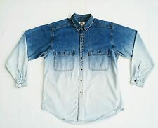 Vtg LEVIS DENIM JEAN Western Shirt Blue Ombre Long Sleeve Red Tab Grunge sz. L