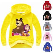 Masha and the Bear Girls Boys Hooded Tops Cartoon T-shirt Kid Thin Hoodie Jumper