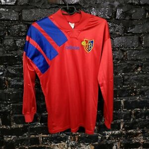 Basel 1893 Jersey Long Sleeve Match Worn? Home shirt 1996-1997 Red Adidas Mens S