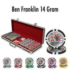 500 Ben Franklin 14g Clay Poker Chips Set with Black Aluminum Case - Pick Chips!