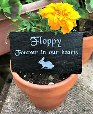 Personalised Engraved Pet Memorial Slate Grave Marker Plaque for a Rabbit Bunny