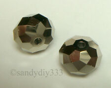 4x SWAROVSKI 5040 METALLIC LIGHT GOLD 2X BRIOLETTE  8mm DONUT RONDELLE  CRYSTAL