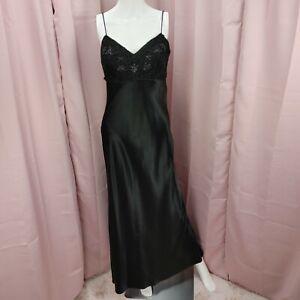 90's Y2K Rampage Women's Little Black Beaded Slip Sheath Tank Long Dress Size 7