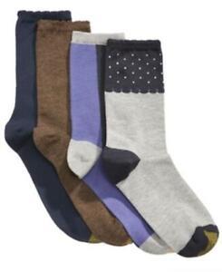 Gold Toe Women's 179819 Dot Border Colorblocked Crew Socks Size 6-9 shoe