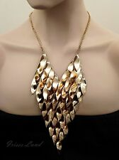 18k Gold Plated GP Fringe Bib Statement Necklace 08977 New