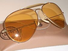 62mm VINTAGE B&L RAY BAN ALL-WEATHER AMBERMATIC OUTDOORSMAN AVIATOR SUNGLASSES
