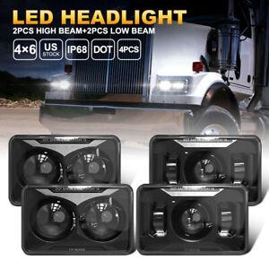 "4x6"" LED Headlights 2PCS High Beam+2PCS Low Beam For Peterbilt 357 Kenworth T800"