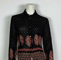 maglia vintage donna usato M top manica lunga nero camicia camicetta retro T5008