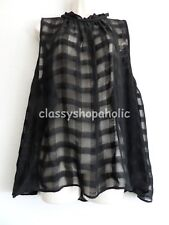 Next Black Viscose Georgette Checked Semi Sheer Top - Size 14 - BNWT RRP £32