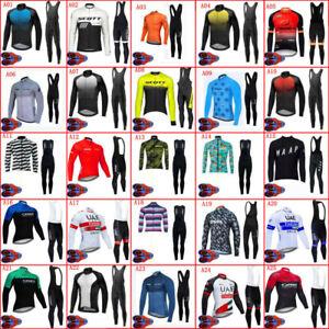 Mens Cycling Long Sleeve Jersey Bib Pants Set Bike Outfits Racing Bicycle Suit