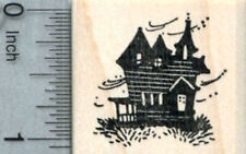 Small Haunted House Rubber Stamp, Halloween Series D33013 WM