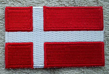 DENMARK FLAG PATCH Embroidered Badge Iron Sew on 3.8cm x 6cm Danmark Scandinavia