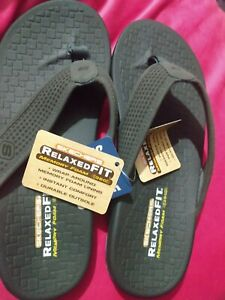 New SKECHERS Men's Pelem Emiro Flip Flop Sandals 65093 Charcoal Gray Easter