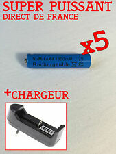 5 PILES RECHARGEABLE AAA 1800 mAh 1.2 V + CHARGEUR OFFERT
