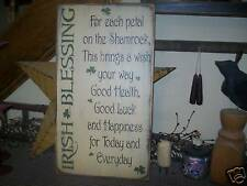 PRIMITIVE IRISH BLESSING SAYING~~CLOVERS~~HAPPINESS~~