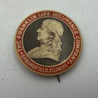 Vtg Franklin Life Insurance Springfield Advertising Button Pin Pinback 1896  H2