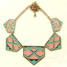 Triangle Pentagon Geometric Pink Turquoise Enamel Collar Statement Necklace Gift