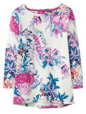 Ladies Joules Cream Floral Harbour Print 3/4 Sleeve Top Size 16