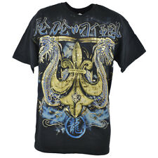 Dragon Gold Foil Fleur De Lis Mens Tshirt Black Asian Thunder Graphic Tee