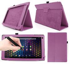 """Purple PU Leather Case For Archos 101 Neon 10.1 """" Tablet + Black Stylus Pen!"""