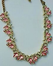 GOLD LEAF WITH Pink Enamel Necklace With AB COLORED RHINESTONES
