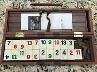 Vtg 1977 Cardinal Rummy-O Puzzle Game 106 Tiles Faux Leather Case Instructions