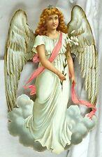 "1880's Fabulous Heavenly Victorian Angel Die Cut 7 1/2"" X 11 3/4""  Large L17"