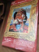 """'The Fisherman' Needlepoint Kit #6802 WonderArt Wool Yarn 12""""x16"""" Old Man Pipe"""