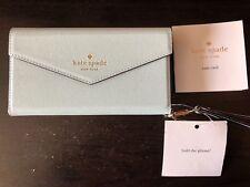Kate Spade NWT Leather Envelopment 7 Case Wristlet Mint Blue