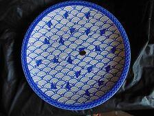 "Utsuwa Blue and White Bird Plate 13"" #111"