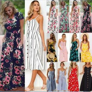 UK Womens Boho Long Dresses Ladies Summer Beach Floral Maxi Dress Uk Size 6 - 20