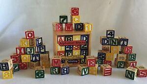 Wooden Alphabet Blocks 48 Pc Set Schylling Storage Box