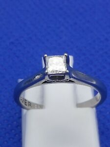 FOREVER DIAMOND Ring H Samuel Palladium 950 0.26 Carat Size J 2.1g + Box & Cert