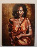 Original oil painting canvas 28×22 in African nude woman Palette knife