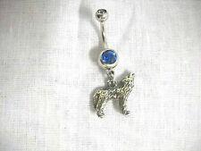 NEW 3D FULL BODY ANIMAL SPIRIT WOLF CHARM 14g BLUE CZ NAVEL BARBELL BELLY RING
